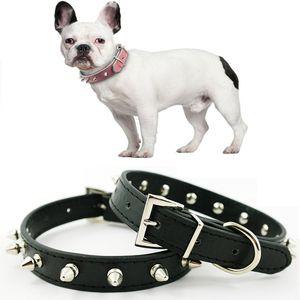 PU Leather Collar Dog Pet Por pequena Suprimentos cães médios Rivet decorativa gato filhote de cachorro ajustável colares de cão chihuahua de estimação