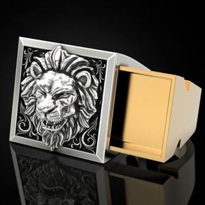 Ретро Punk Мужчины Ring Set тайнике Double Layer Coffin Kingdom Lion Hip Hop кольцо Мужчины Punk Viking Ювелирные кольца Размер 7-13