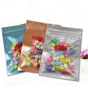 mulit color Zip Mylar Bag mask powder packaging bag flower tea snack trial small bags plastic packing bag one side clear