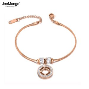 JeeMango Bohemia Trendy CZ Crystal Roman Numerals Charm Bracelets Jewelry For Women Rose Gold Stainless Steel Bracelet JB19097