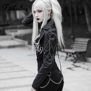 Fitshinling Kette Gothic Faux-Lederjacke weiblicher Mantel 2019 Herbst schnüren sie oben schwarze PU-Jacken-Frauen-Kleidung Goth dunkler Punk Coats