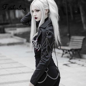Cadeia Fitshinling Gothic Faux Leather Jacket Brasão Feminino 2019 Autumn Lace Up Preto PU Casacos Roupas Femininas Goth escuro Punk Coats