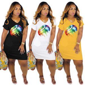 Lips Printed Womens Dresses Fashion V Neck Short Sleeve Summer Dresses Womens Solid Color Designer Dresses