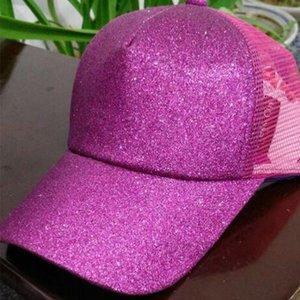 11color cc Hut Glitter Ponytail CC Baseball Hut Mädchen Softball-Hüte zurück Loch-Pony-Endstück Glitter Mesh-Baseball-CC-Kappe