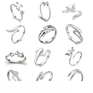 Novo 925 Sterling Jewerly Rings Dolphins Dragonfly Wings Of The Angel Love Fox Butterfly Opening Ajustable Ring For Women