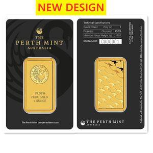 Australie 1 oz Perth Mint Noir Blister Gold Bar 24K Gold Bar Crafts DHL navire 10pcs / lot non magnétique différent numéro de série