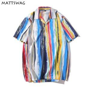 MATTSWAG arc coloré hommes Imprimer Chemise rayée Splice pour hommes occasionnels en vrac manches courtes hommes Bouton Up Homme
