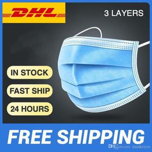 DHL gemi stokta 200 adet toz geçirmez maskeleri elastik küpe ile 3 katmanlar tek kullanımlık anti toz ağız koruyucu yüz maskeleri