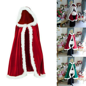 Xmas Natale per adulti signore di Babbo Natale Costume del capo del mantello