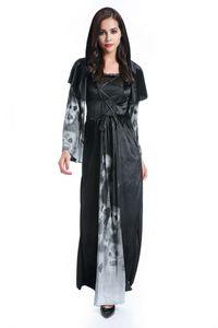 Mesh Şal Siyah Evil Kraliçe Kostüm ile ücretsiz gönderim Halloween Vampire Tema Kostüm Seksi Karnaval Gotik Güzeller Cosplay Fantezi Elbise