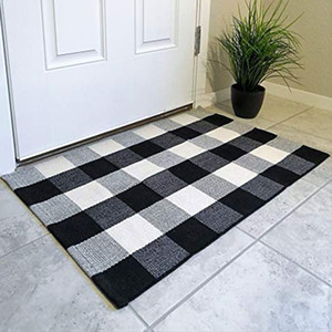 New Fashion Plaid Cotton Doormat Rugs Door Mats Outdoor Throw Rugs for Front Porch Entry Way Kitchen Bathroom