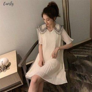 Female Sweet Chiffon White Dresses Lace Stitching Butterfly Sleeve Mini Dress Summer Womens Doll Collar Kawayi Girls Dress