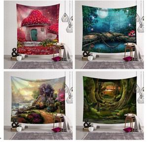 Sıcak ihracat dekoratif duvar resimleri asılı bez Orman mantar evi duvar boyama Yatak Odası oturma odası Orman tünel dekorasyon goblen 203x150