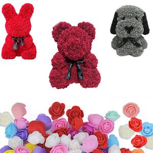 Modelleme Çiçekler Gül Ayı Strafor Köpük Ayı Tavşan Köpek Köpük DIY Noel Partisi Dekorasyon için Güller Çiçekler Sevgililer Hediye