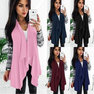 Sleeved Top Coats Casual Open Stich Women Autumn Cardigan Jackets Patchwork Long