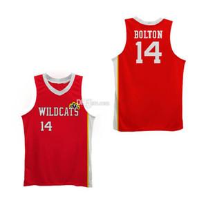 # 14 Zac Efron Troy Bolton-Est chats sauvages de lycée rétro classique de basket-ball Jersey Hommes Cousu Nom Numéro personnalisé Chandails