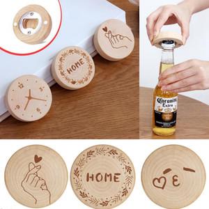 Wooden Fridge Magnet Beer Bottle Opener Wood Refrigerator Message Magnet Sticker Creative Camping Protable Home Decoration OOA7609-3