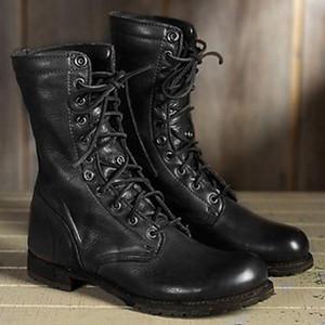 SAGACE plat Hommes Femmes Arrondi talons bas Chaussures à lacets Western Middle Bottes Tube rétro Chevalier Bottes 2020
