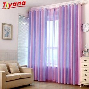 Lila Gradient Striped Tulle Tiyana Fenster-Vorhang für das Schlafzimmer Blackout Vorhänge Wohnzimmer Küche Panels
