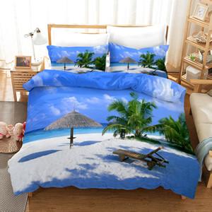 Yatak Seti Seaside Manzara Nevresim ile Yastık kılıfı Tek İkiz Çift Tam Kraliçe Kral