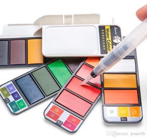 18 25 33 42 Couleurs solides Aquarelle Peinture au Set Pigments Paintbrush peinture en plein air Artisanat portable pliable Set de poche