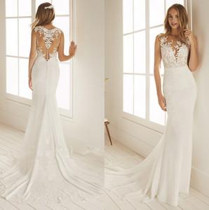버튼을 사용하여 투명한 얇은 명주 그물 쉬폰 공주 웨딩 드레스 2020 레이스 아플리케 스윕 기차 비치 보헤미아 신부의 웨딩 드레스 Vestido 드 Noiva