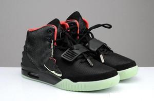 Kanye West 2 SP Red baskeball Chaussures avec emballage d'origine sac à poussière Sneakers Mens Kanye West 2 Glow noir extérieur