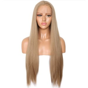 Heat Resistant Fiber Hair Synthetic Lace Front Blonde Wig Long Natural Straight Light Brown Middle Part Synthetic Full Wig for Women Girls