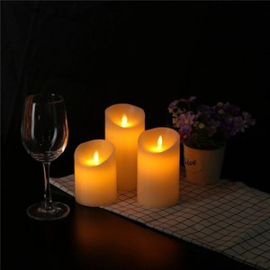 DE Stock 3PCS Candle Light Flameless Wax LED Flickering Candles Dancing Battery Mood Lights Tealights for party decor