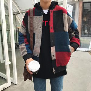 2018 Men's Wool Clothes Stand Collar men coat Streetwear  Bomber Jackets Fashion Color Splicing Windbreaker Size M-5XL