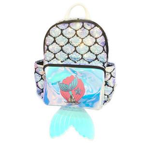 sirena láser mochilas para niños mochilas de lentejuelas de chicas peces bolsa de los niños de la cola del partido del verano de las muchachas Bolsas Escuela Bolso Mochila FFA2040