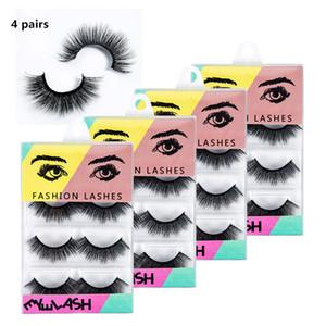 3D норки ресницы натуральные накладные ресницы длинные наращивание ресниц искусственные поддельные ресницы макияж инструменты 4 пары / лот RRA1526