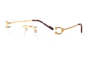 Frankreich Markendesigner Büffelhorn Ebene Spiegelgläser rahmenlosen goldenen Metallbeine Sonnenbrille optische Brillen des lunettes de soleil