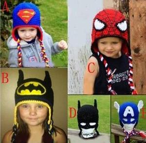Bébé Crochet Bonnet tricoté Bonnet d'hiver Spiderman Batman Mask Super Hero Enfants Garçons Filles Enfants Nouveau-né bébé Tout-petit Noël Casquette coton