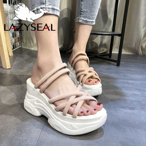 LazySeal Platform Women Sandals 2020 Summer 8cm Wedge Heel Thick Bottom Women Beach Sandal Chunky Sole Woman Shoes
