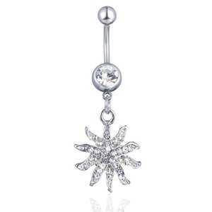 D0756-1 ( 2 colors ) Mix Color Sunflower style navel button ring piercing body jewlery 1.6*11*5 8 belly ring Body Jewelry
