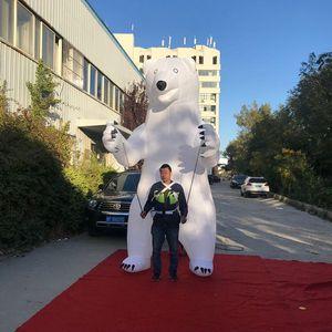 Urso inflável Urso Branco Polar Andar Andar Puppet inflável Plush Panda Polar Bear 2M boa