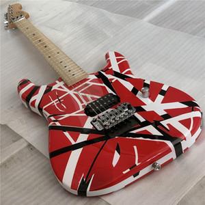 Çete Eddie Edward Van Halen 5150 Beyaz Çizgili Kırmızı Elektro Gitar Floyd Rose Tremolo, Kilitleme Nut, Akçaağaç Boyun Fingerboard, 1 Köprü Pikap