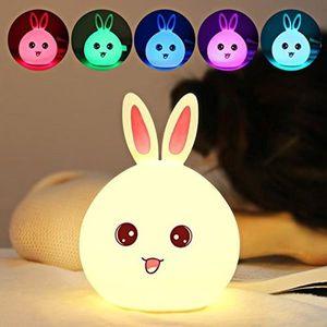 Nuovo arrivo Lampade creative Modello animale Risparmio energetico USB ricaricabile Bella lampada LED in silicone con coniglio Luce notturna Baby Room Decoration