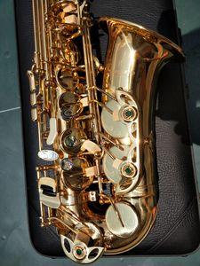 Vero e proprio colpo professionale Yanagisawa A-992 A-WO20 Alto Saxophone elettroforesi oro Abalone fibbia chiave sax alto con accessori possono OEM libero