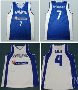 Uomini Donne Personalizzato Qualsiasi Nome qualsiasi numero YOUNTH personalizzato XXS-6XL Vassilis Spanoulis 7 GALIS 4 Grecia Basketball Jersey può personalizzare i giocatori maglie