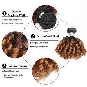 Human Hair Extension Ombre Peruvian Bouncy Curly Hair Bundles 2 Tone 1B 27Remy Human Hair Weave Bundles Black Women