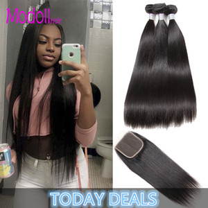 Brazilian Straight 100% Human Hair Bundles With Closure 8A Brazilian Straight Hair Weave 3 4 Bundles Natural Black Remy Hair Extensions