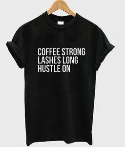 Le donne t-shirt di caffè ciglia forti lungo trambusto sulla Stampa Cotton t shirt casual divertente per signora Top Tee Hipster Drop Ship Z-779