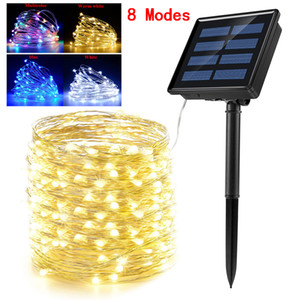 Solaire LED de lumières LED 100/200 extérieur étanche Fée lumière 8 Modes de fil de cuivre Fête de Noël Garland Eclairage de jardin Décoration