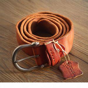 2017 vintage cowboys 100% real full grain brown genuine leather designer belt men high quality ceinture soft coffee jeans