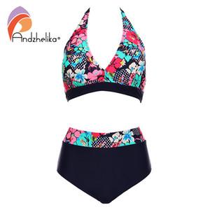 Andzhelika Bikins Kadınlar 2018 Yeni Artı Boyutu Mayo Baskı Çiçek Yüksek Waisted Mayo Yüzmek Halter Bikini Seti Biquini Y19062901