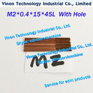 (10pcs / lote) M2 * 0,4 * 15 * 45 milímetros métrica de cobre orbital a batida do eléctrodo com orifício de lavagem para máquinas de faísca EDM, eléctrodo de MDE fio de cobre M2
