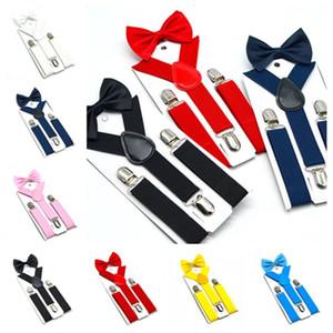 ربطة عنق أحزمة الأطفال وضعت 7 ألوان الأولاد البنات تقويم حمالات بنطال مطاطي بحزام أزياء أحزمة ربطة عنق الطفل T2G5067