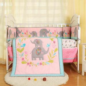 7pcs Baby Girl Literie Elephant Flower Nursery Quilt Bumper feuille Crib Skirt